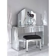 Bedroom Vanity Table Rectangle Silver Steel Dressing Table With Three Mirror Plus Stool
