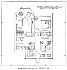 architectural floor plan architectural floor planstudio apartment one bedroom stock vector