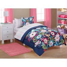 Kids Beds For Girls Twin Mainstays Kids U0027 Bed In A Bag Navy Floral Walmart Com