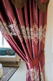 embroidery faux silk burgundy tab top swag style swag valance