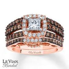 Chocolate Diamond Wedding Ring Set by Le Vian 14k Rose Gold Ring Set White Diamond 1 3 8 Ct T W And