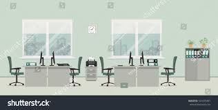 Gray Green by Office Room Gray Color There Tables Stock Vector 541079401