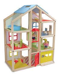 Dollhouse Floor Plans Amazon Com Melissa U0026 Doug Hi Rise Wooden Dollhouse With 15 Pcs