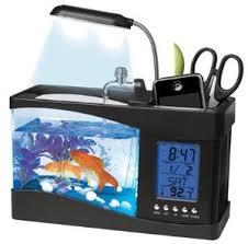 gadget bureau meteo aquarium usb avec eau coulante et filtrée et éclairage led support