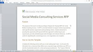 social media consulting rfp template youtube
