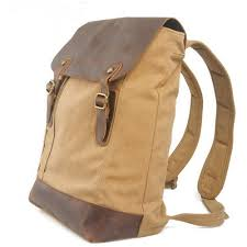 Rugged Leather Backpack Leather And Canvas Utility Warrior Backpack Laptop Daypack