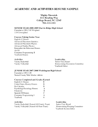 high school resume for college template activity resume template for your college activity resumes
