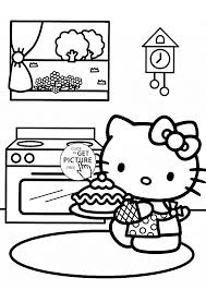 hello kitty bakes a cake coloring page for kids for girls