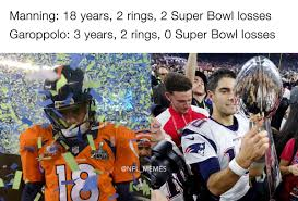 Peyton Superbowl Meme - nfl memes on twitter jimmy garoppolo better than peyton manning