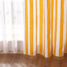 Yellow White Curtains Modern Style Cotton Linen White And Yellow Living Room Curtain