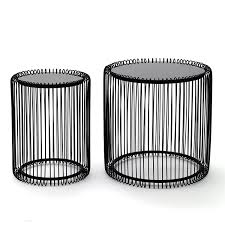 Wire Side Table 2 Stylish Side Table Wire 2 Pcs Black Coffee Table