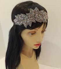 beaded headband great gatsby headband beaded headband pewter