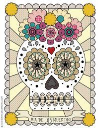 dia de los muertos coloring sheet karen michel