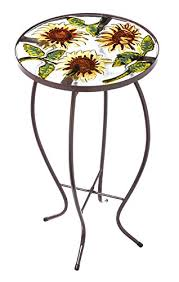 amazon com outdoor decor sunflowers round glass side table