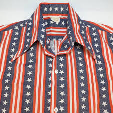 Red White Striped Flag Vintage 1960s Brent Button Up Usa Red White U0026 Blue Stars U0026 Stripes