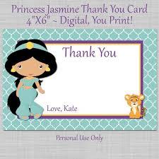 printable thank you cards princess princess jasmine notecard birthday thank you card digital