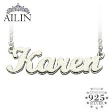 Customized Necklaces Aliexpress Com Buy Freeshipping Karen Style Name Necklace Silver