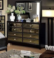 Black Dresser And Nightstand 8 Drawer Dresser In Black With Gold Tinted Mirror Front Panels
