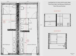 gatewood studio arts bldg hand drafted floor plan and section