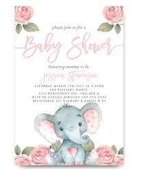 elephant baby shower invitation watercolor flowers