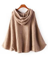 coffee 3d cable knit hooded cape sweater st1110004 b jpg