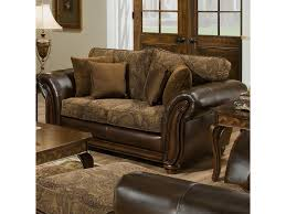 Loveseat Ottoman Simmons Upholstery 8104 Leather And Chenille Love Seat Royal