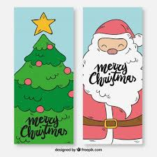 tree banners and santa claus vector free