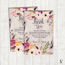 Baby S Closet Bohemian Thank You Card Rustic Boho Baby Shower Printable