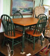 Fascinating Country Kitchen Table And Chairs With Dark Green Color - Butcher block kitchen tables and chairs