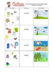 esl worksheets for beginners clothes and seasons