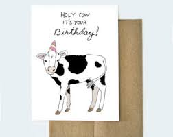 Cow Birthday Card Animal Birthday Card Etsy
