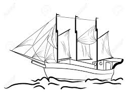 sketch of nautical sailing vessel in a sea royalty free cliparts