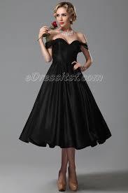 2015 new vintage sweetheart off shoulder tea length party dress