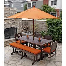6 Seat Patio Table And Chairs Outdoor Dining Table With Bench Seats Espresso Saturn Rectangular
