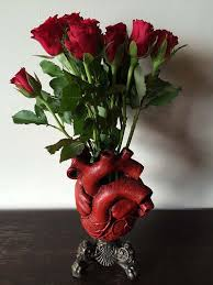 Vase With Roses Anatomical Heart Vase Red Finish