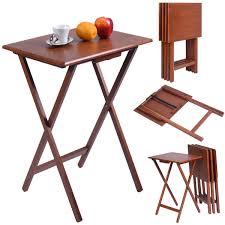 Kitchen Furniture Set Set Of 4 Wood Portable Folding Tables Kitchen U0026 Dining Furniture