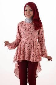 desain baju kekinian model baju batik modern wanita muslim 2018