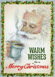 coffee peggy abrams box of 18 santa cards by lpg