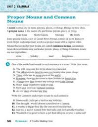 proper nouns and common nouns 3rd 5th grade worksheet lesson