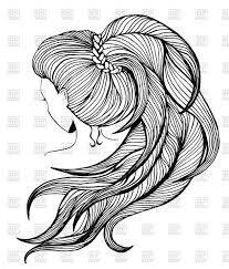 elegant women with long ponytail luxuriant hairstyle in line art