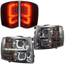 euro tail lights for chevy silverado chevy silverado 2007 2013 smoked halo drl projector headlights and