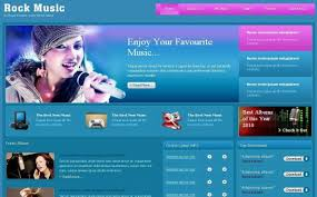 music pink blue free css photoshop web template free css