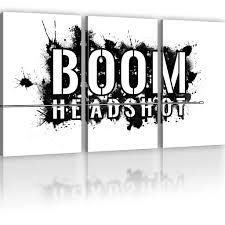 wandbilder 3 teilig bilder boom headshot gamer wandbild computerspiel kunstdruck