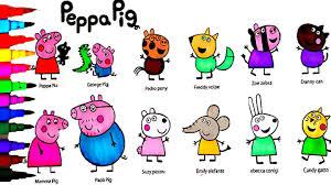 peppa pig coloring book pages family n u0027 friends kids fun art