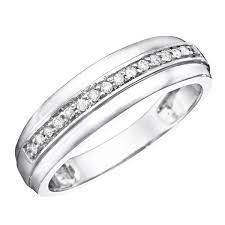 gold wedding band mens 1 5 ct t w diamond men s wedding band 14k white gold