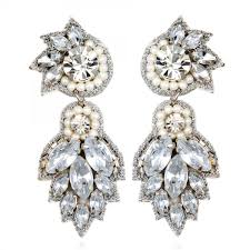 suzanna dai earrings vosges drop earrings white silver beaded lightweight bridal
