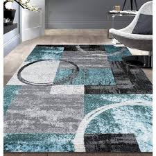 Gray Blue Area Rug Turquoise And Gray Area Rug Ebern Designs Federico Circle Gray