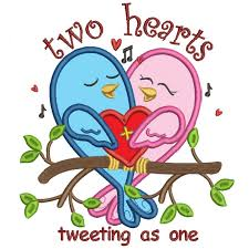 hearts tweeting as one without bee applique machine embroidery