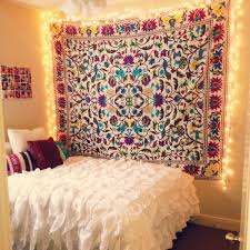 dorm room string lights art deco bohemian dorm room with white ruffle bedding set string