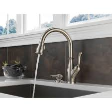 silver delta savile stainless 1 handle pull down kitchen faucet